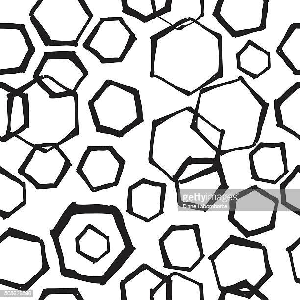 hand drawn retro seamless hexagon pattern - pen and ink stock illustrations, clip art, cartoons, & icons