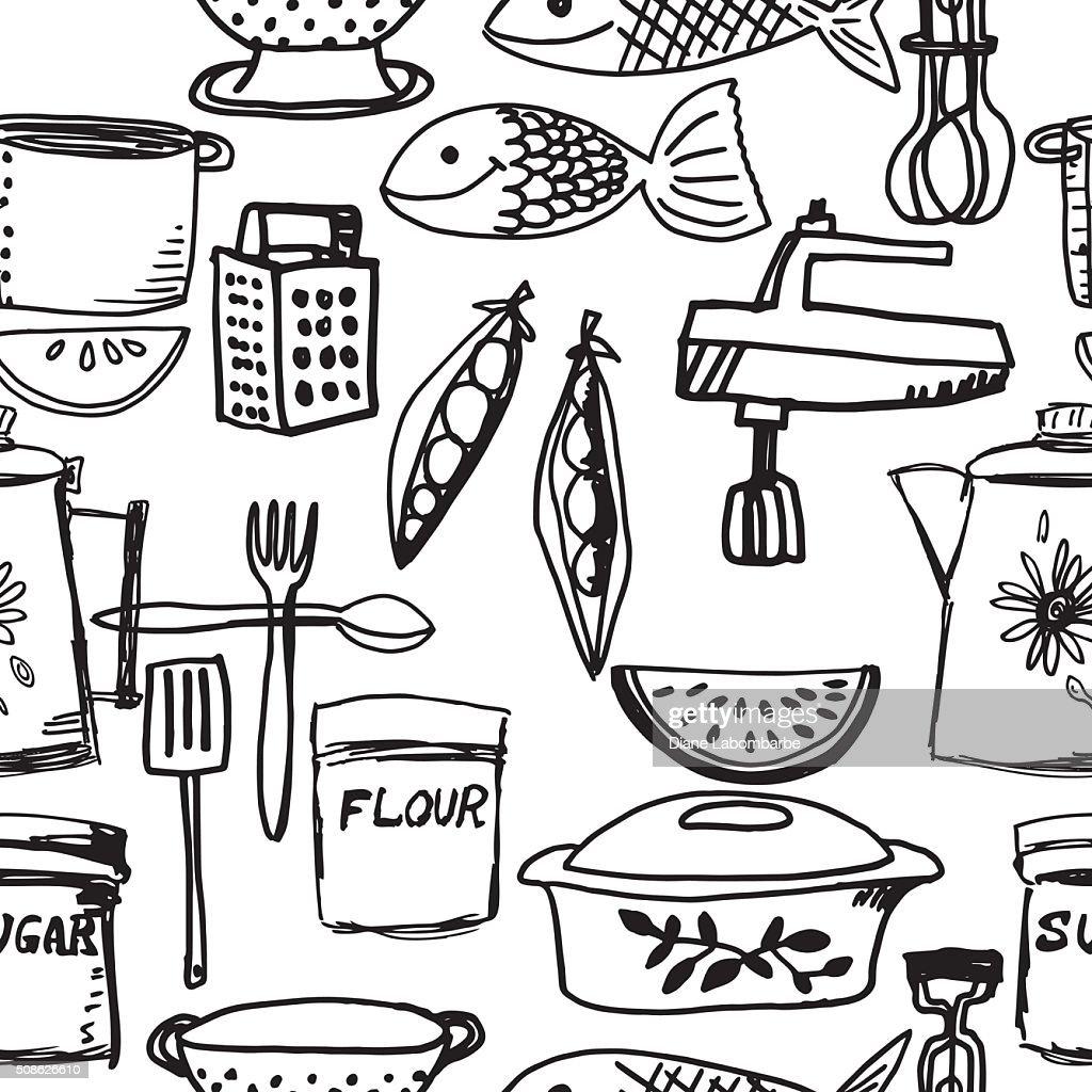 Hand Drawn Retro Seamless Kitchen Gadget Pattern Vector Art   Getty ...