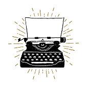 Hand drawn retro typewriter vector illustration.