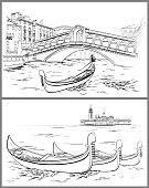 Hand drawn Rialto Bridge and Lido island, Venice