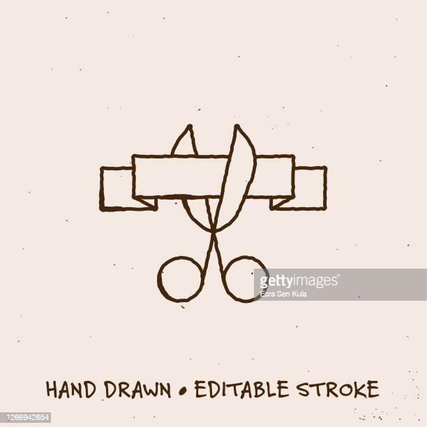 illustrations, cliparts, dessins animés et icônes de icône de coupe de ruban dessiné à la main avec trait modifiable - cérémonie du ruban