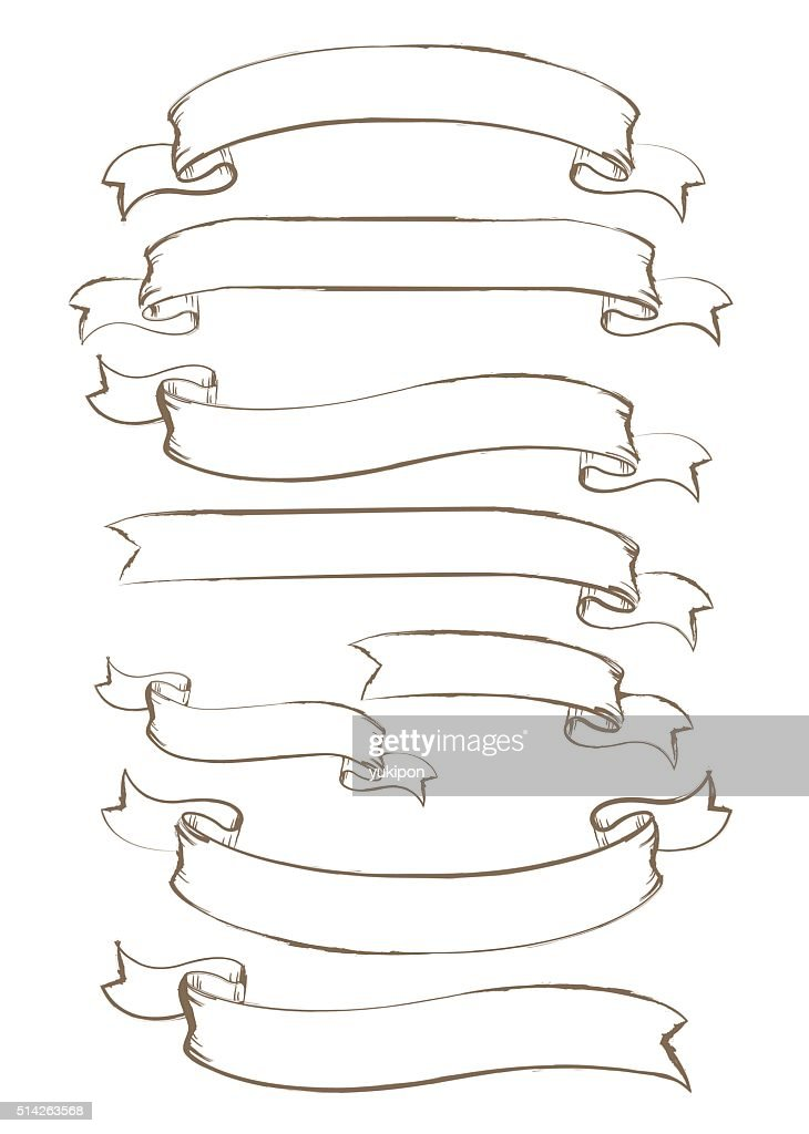 Hand drawn ribbon Vector