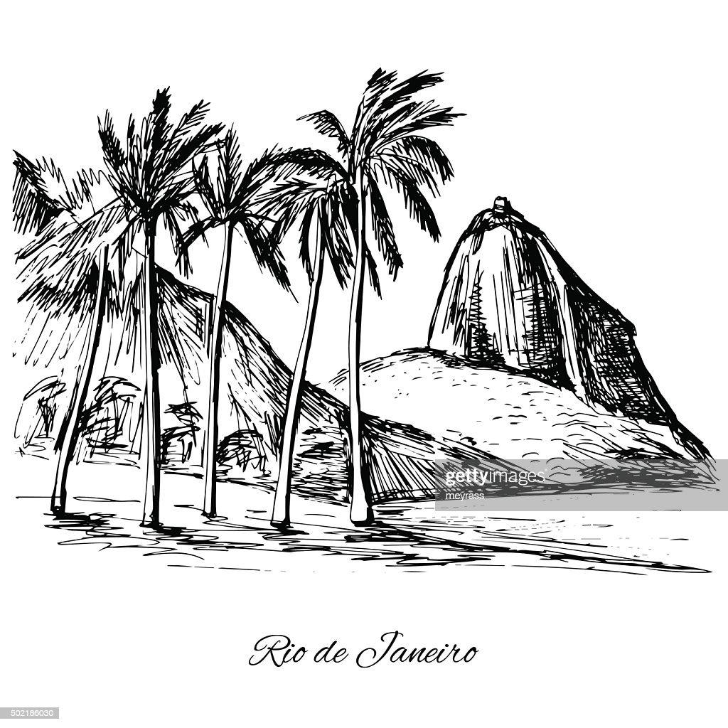 Hand drawn Rio de Janeiro coast