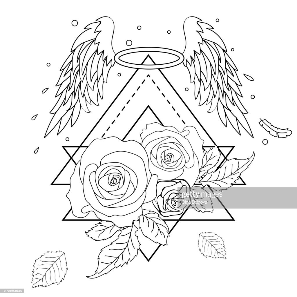Hand drawn romantic beautiful drawing of a roses and wings. Vector illustration isolated. Tattoo design, mystic symbol for your use