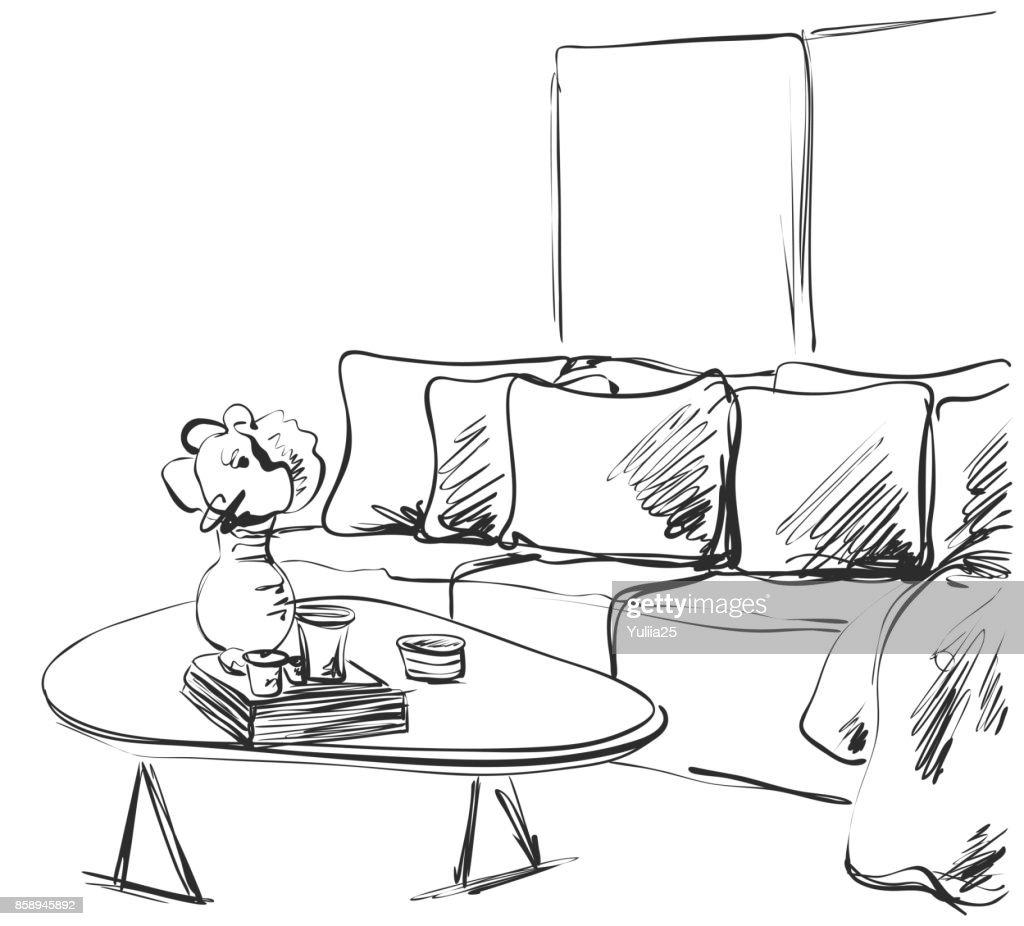 Hand drawn room interior. Sofa and table. Books