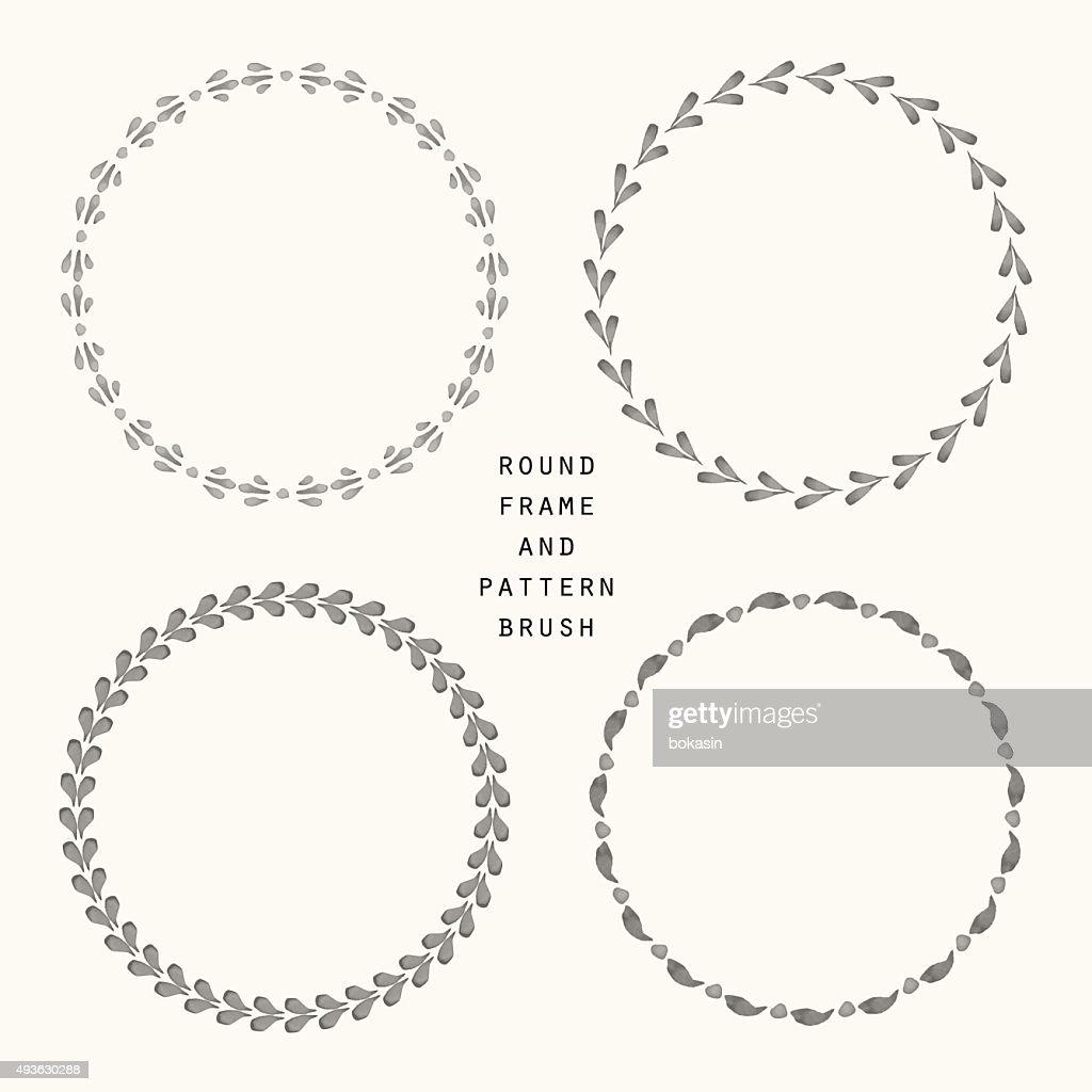 Hand drawn round frame and pattern brush set