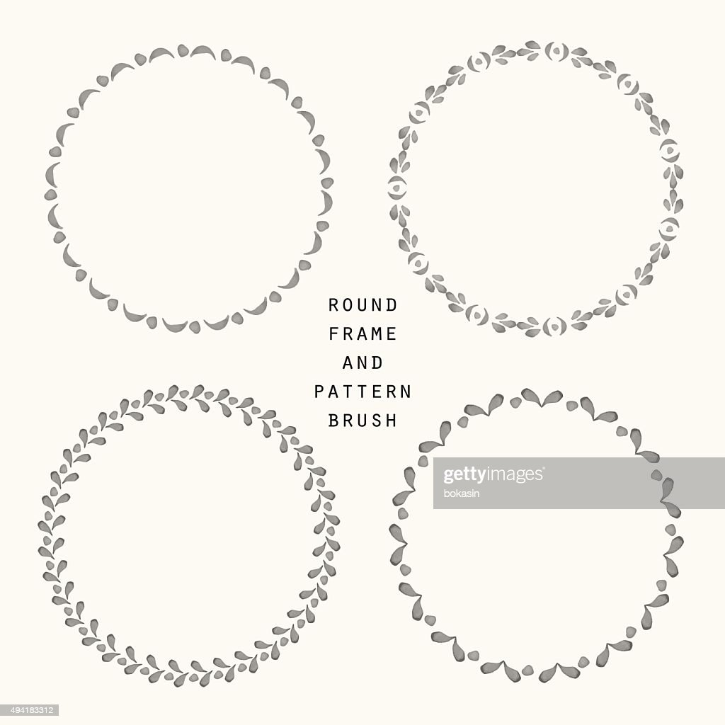 Hand drawn round frame and pattern brush set