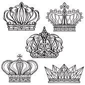 Hand drawn royalty crown set