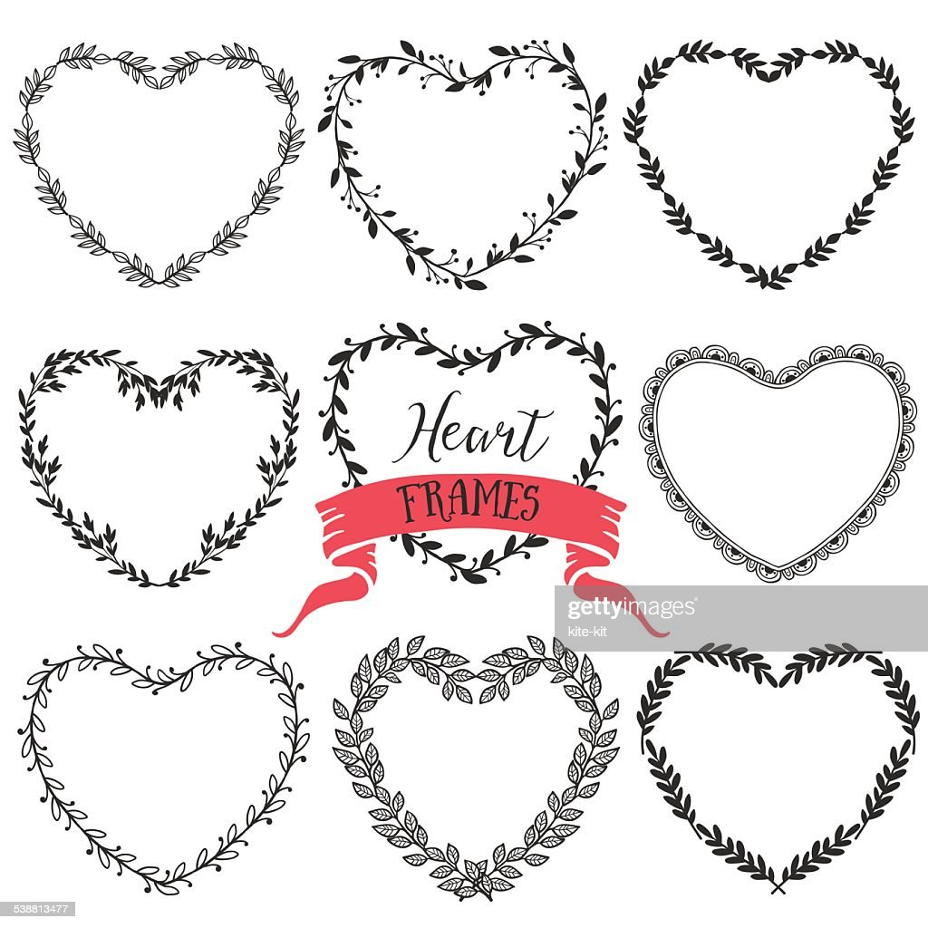 Hand drawn rustic vintage heart wreaths. Floral vector graphic.