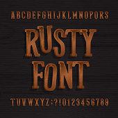 Hand drawn rusty vintage typeface. Retro alphabet font.