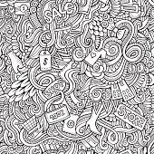 hand drawn sale shopping seamless pattern