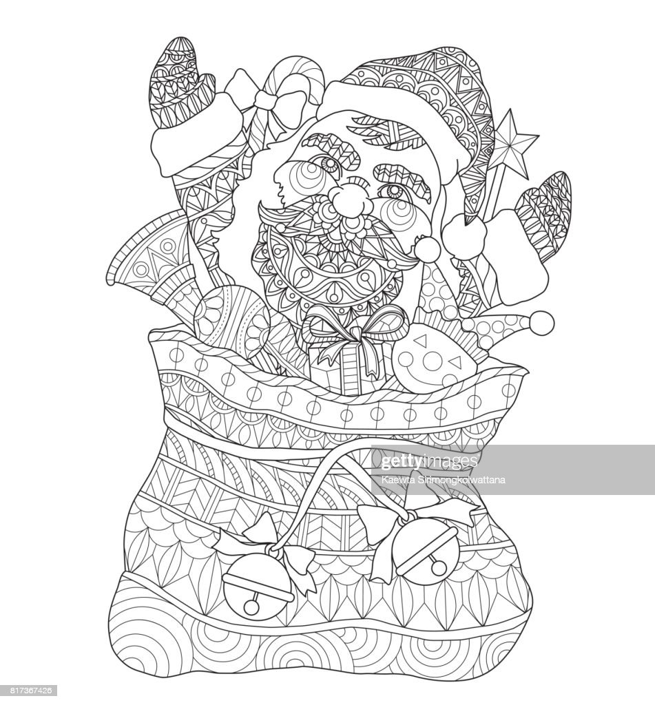 hand drawn santa claus in the santas sack for adult coloring page