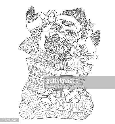 hand drawn santa claus in the santas sack for adult coloring page vector art getty images