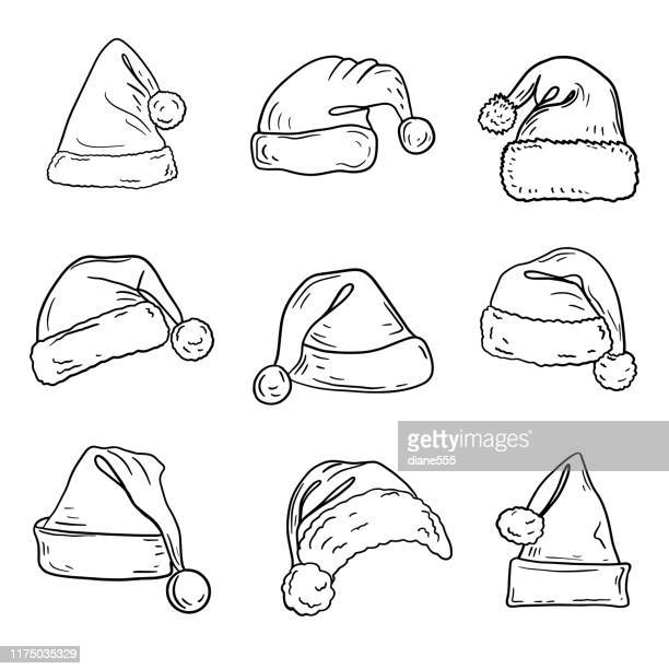 hand drawn santa hat - santa hat stock illustrations