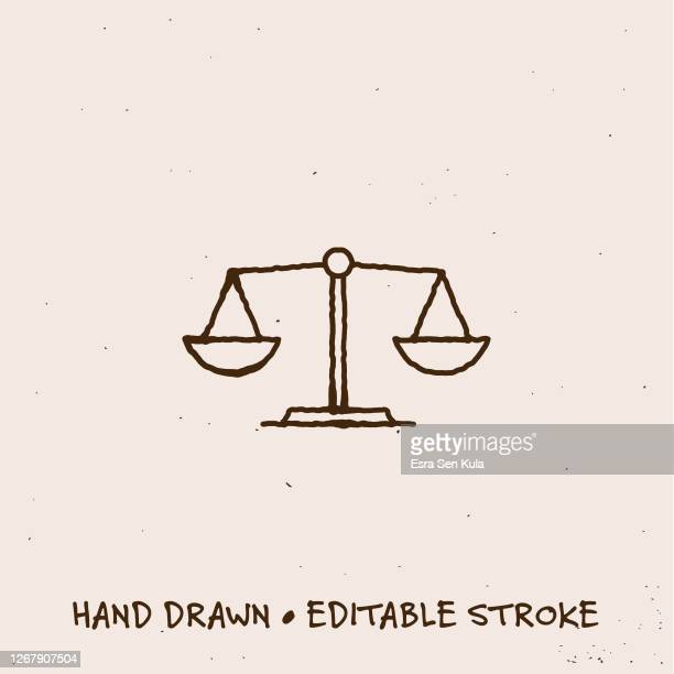 hand drawn scale icon with editable stroke - social justice concept stock illustrations