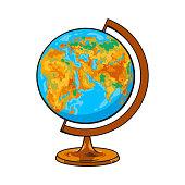 Hand drawn school classroom globe, geographical map