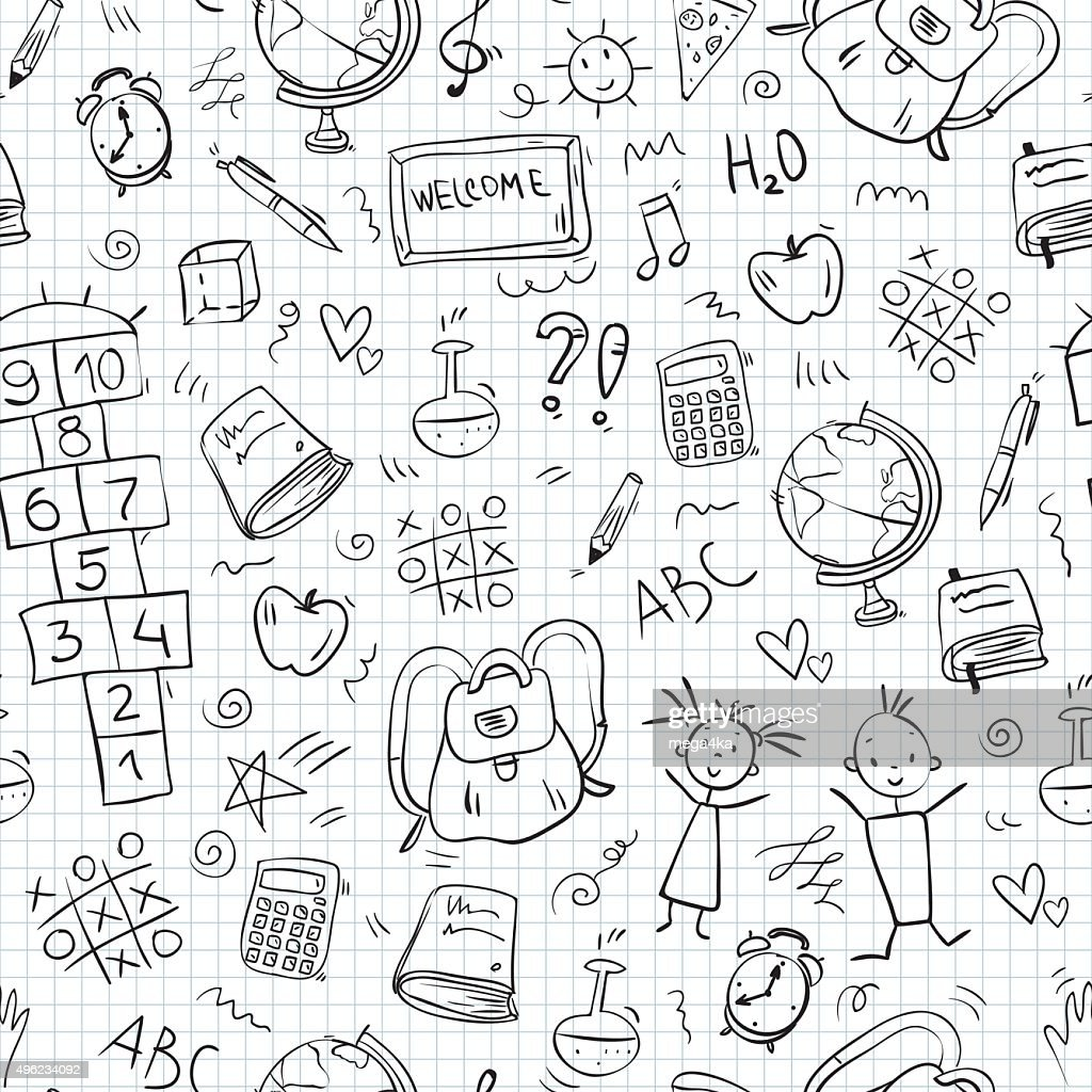 hand drawn school icons seamless pattern