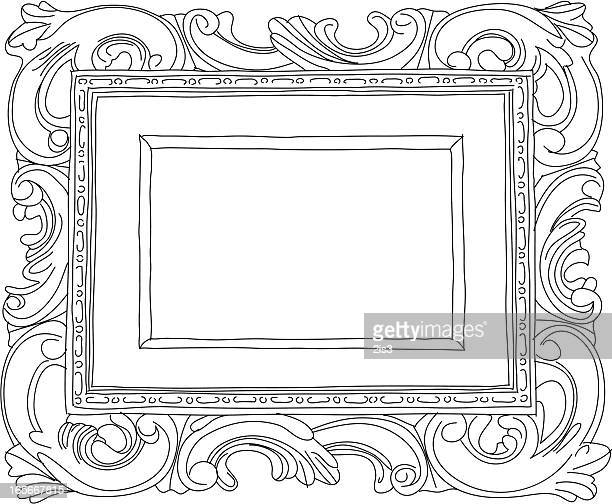 hand drawn scrolled frame - scrollen stock illustrations