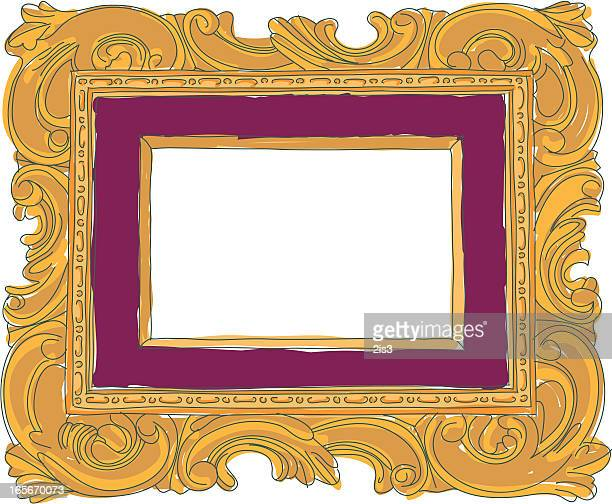 hand drawn scrolled frame (colored) - scrollen stock illustrations