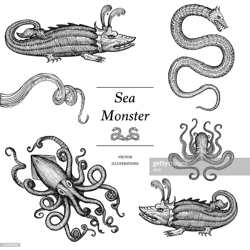 Hand Drawn Sea Monsters