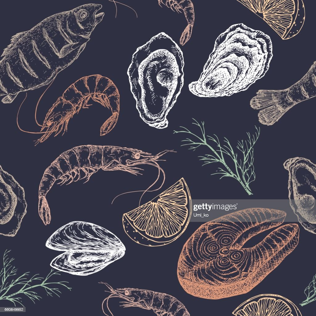 Hand drawn seafood vector seamless pattern on blue