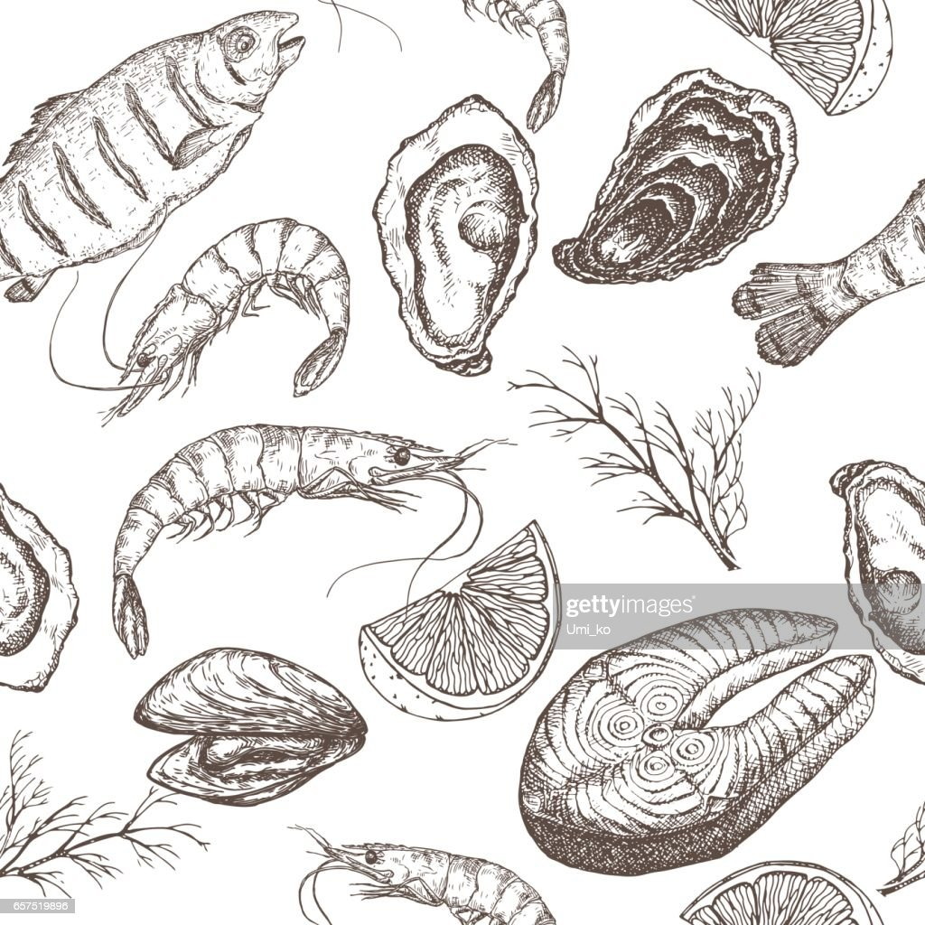 Hand drawn seafood vector seamless pattern