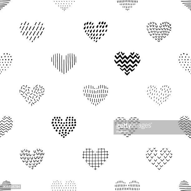 Hand drawn seamless heart pattern