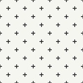 Hand drawn seamless ink pattern. Brush strokes. Crosses or pluses.