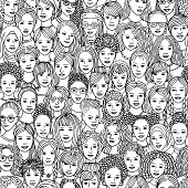 Hand drawn seamless pattern of diverse women