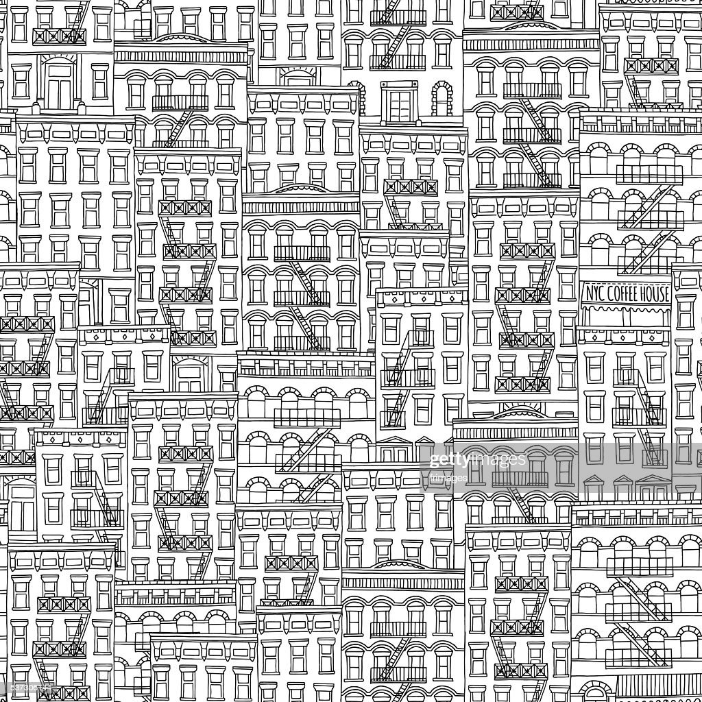Hand drawn seamless pattern of New York style houses