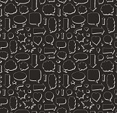 Hand drawn seamless pattern of speech bubbles and arrows. White print on black background