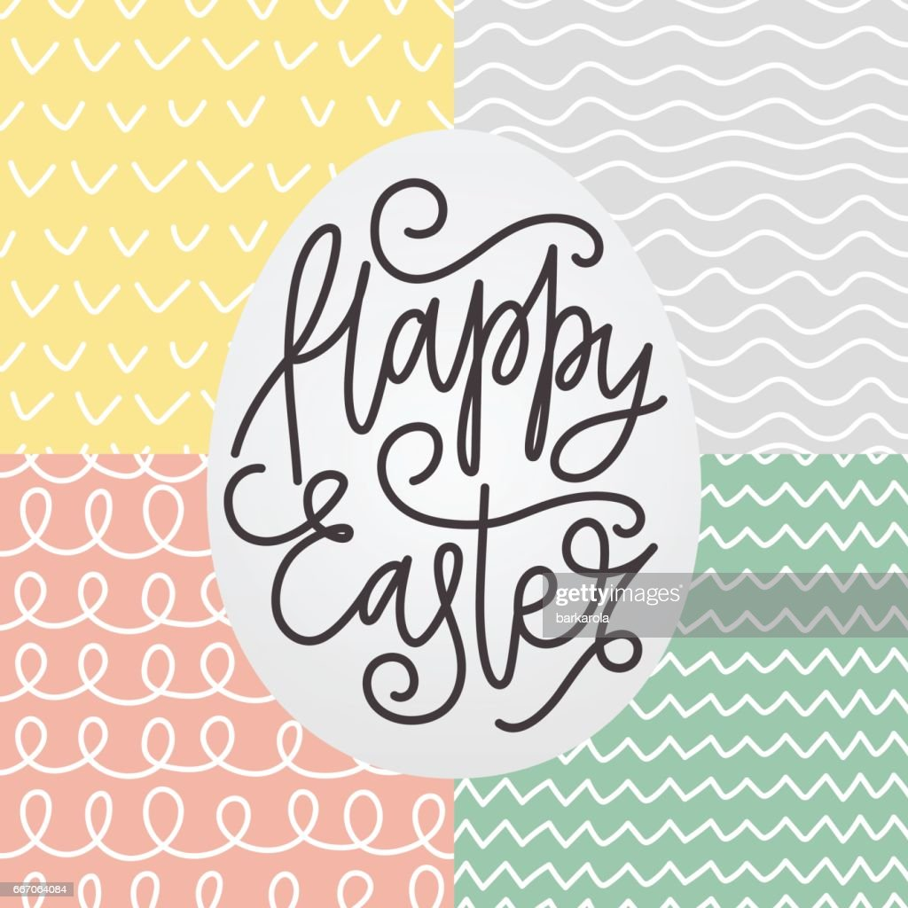 Hand drawn seamless pattern set for Easter.