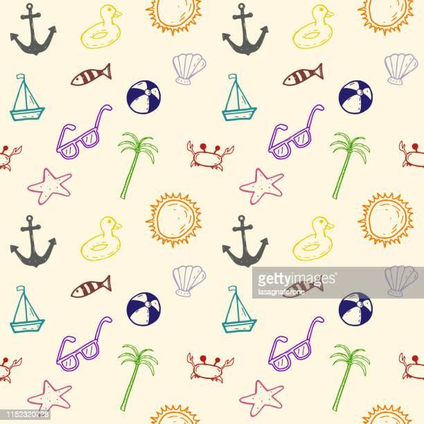 illustrations, cliparts, dessins animés et icônes de motif sans soudure dessiné à la main - crabe