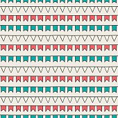 Hand drawn seamless pattern with bunting flags. Doodle style.
