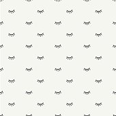 Hand drawn seamless pattern with open and close eyes. Background.
