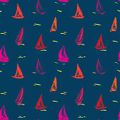 Hand drawn seamless pattern with sailboats.