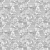 Hand drawn seamless pattern with town houses.