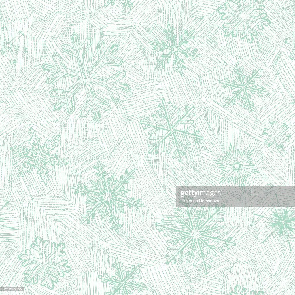 Hand Drawn Seamless Snowflakes