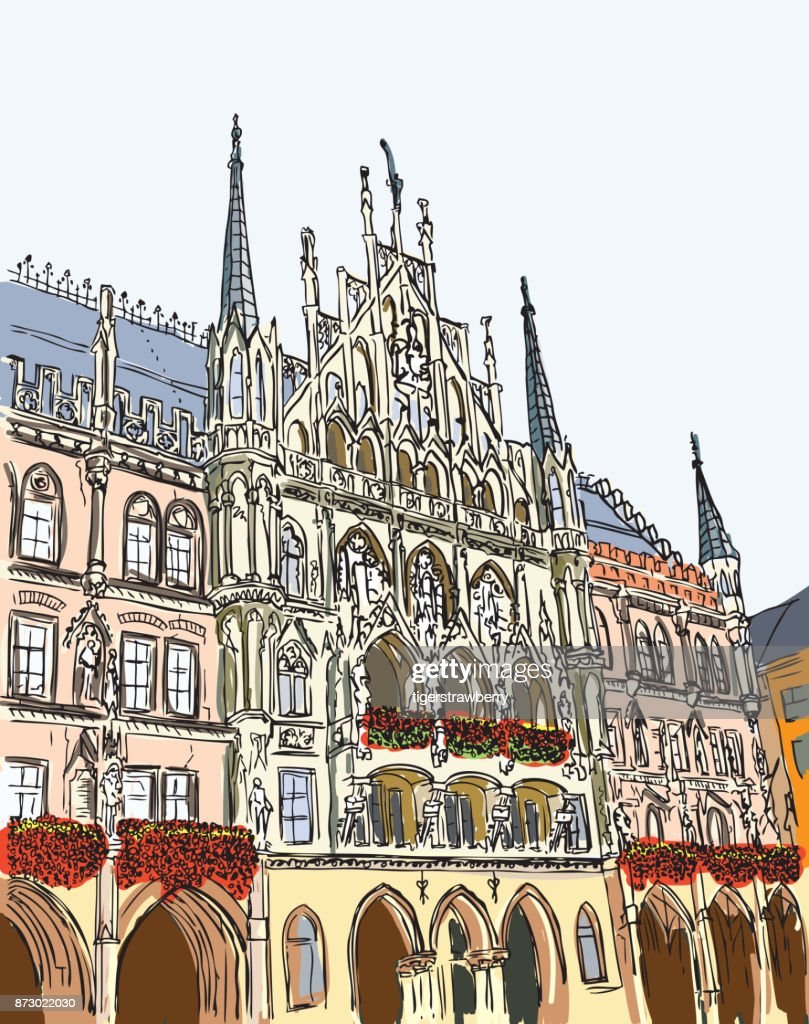 Hand drawn series of vacation travel invitations card or flyers with calligraphic city writing. Munich city in Germany, ink drawing and painted with watercolor imitation in grunge frames. Vector.
