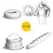 Hand drawn set bakery illustrations. Baker making fresh bread in stone oven, sesame bagel, fresh baguette and flour sack.