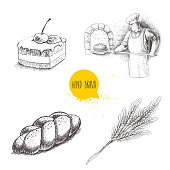 Hand drawn set bakery illustrations. Baker making fresh bread in stone oven, cream chocolate cake with cherry, fresh sesame bun and wheat bunch.