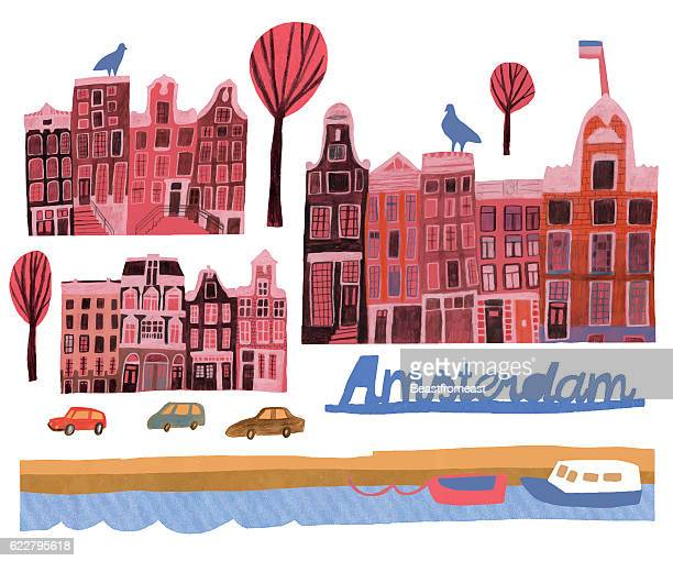 Hand drawn set of buildings in Amsterdam