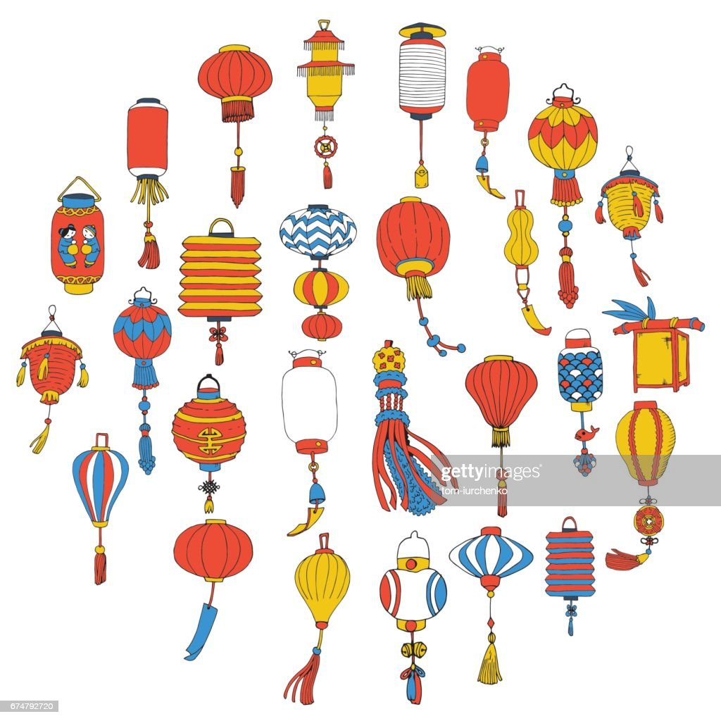 Hand Drawn Set of Different Chinese Paper Street Lanterns. Illustration in Doodle Style.