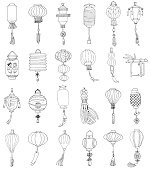 Hand Drawn Set of Different Chinese Paper Street Lanterns.Doodle Style.