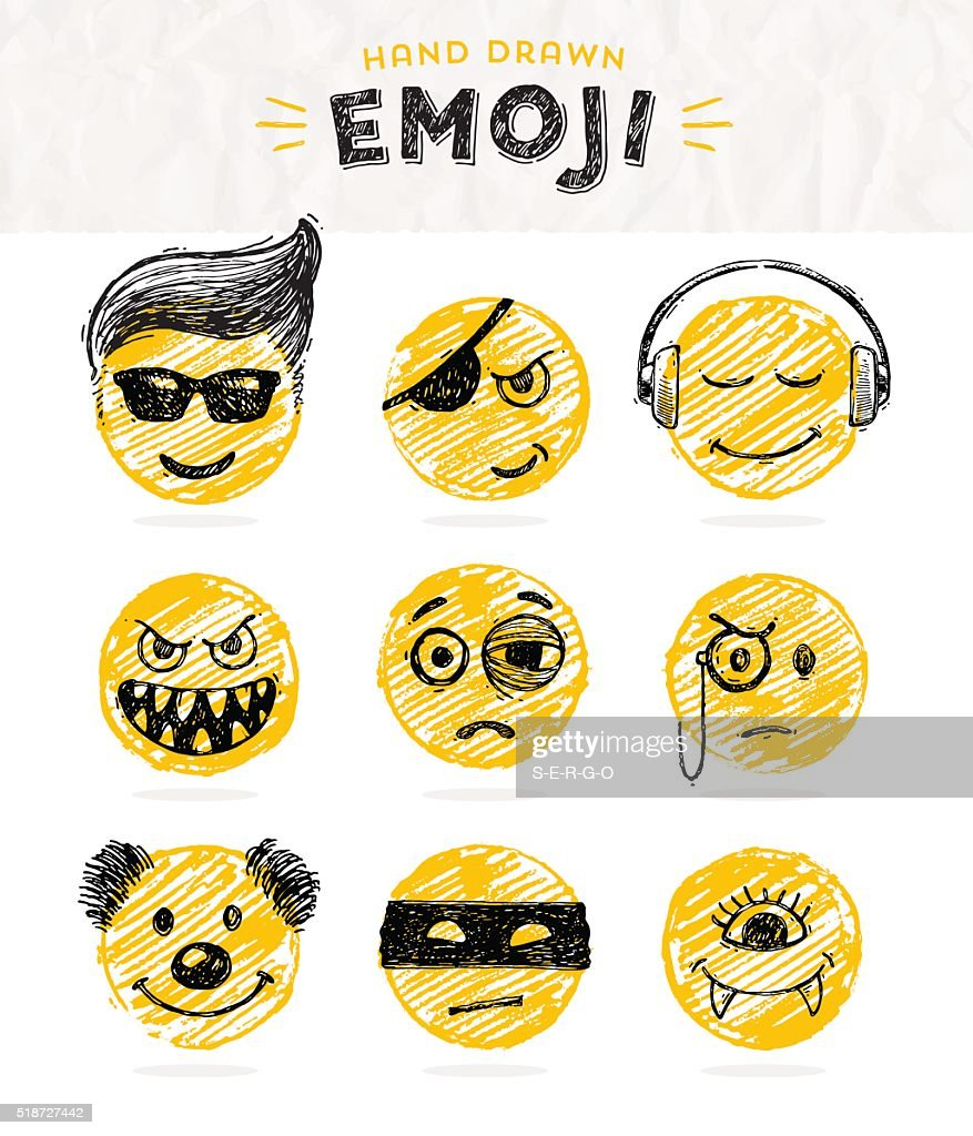 Hand drawn set of Emoticons. Set of Emoji. Smile icons.