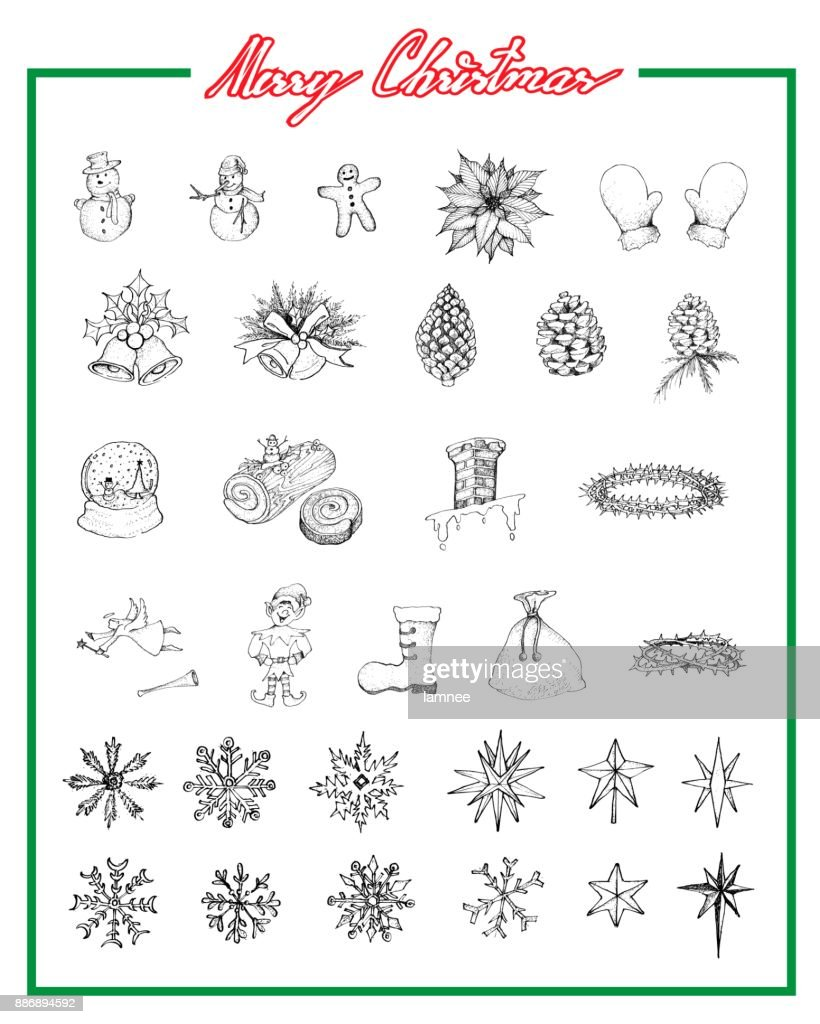 Hand Drawn Set of Lovely Merry Christmas Items