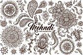 Hand drawn set of mehndi design templates