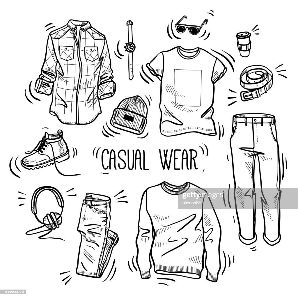 Hand drawn set of men's casual wear sketches