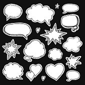 Hand drawn set of speech bubbles for stickers