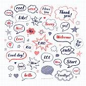 Hand drawn set of speech bubbles
